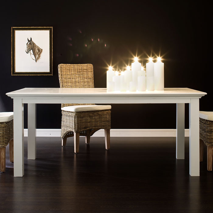 Halifax white mahogany dining table dcg stores