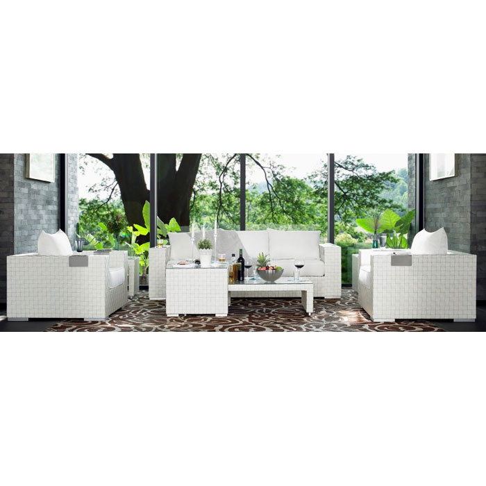 titan 6 piece all weather wicker living room set in ivory dcg stores