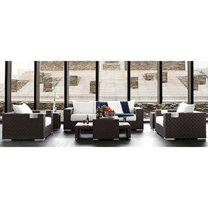 Titan 6 Piece All Weather Wicker Living Room Set in Mocha