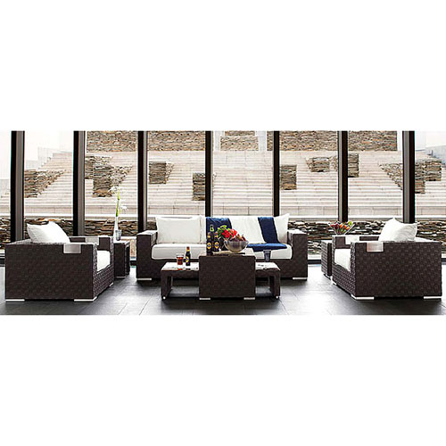 titan 6 piece all weather wicker living room set in mocha dcg stores
