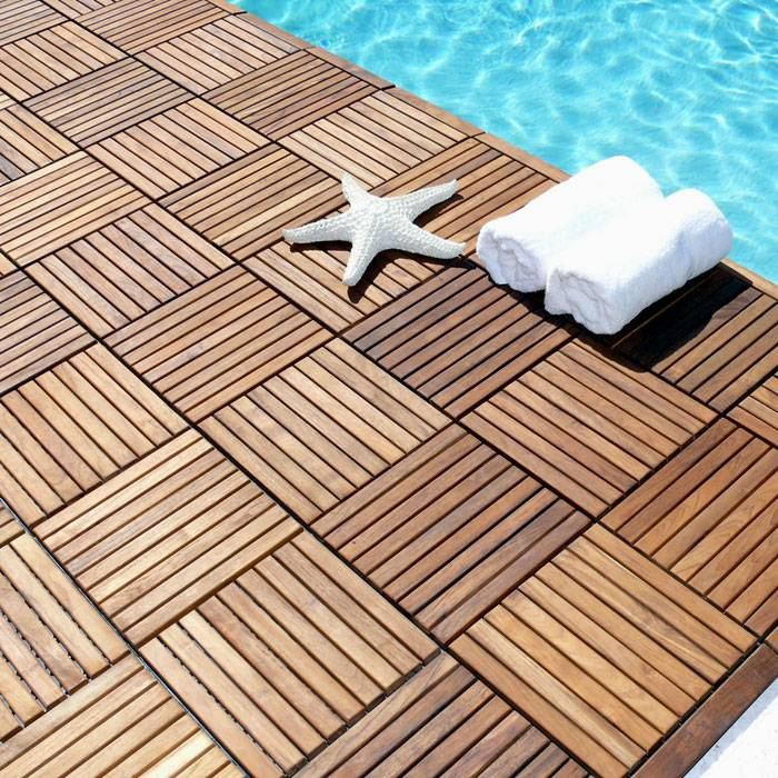 Le Click Teak Wood Interlocking Tiles in Natural Finish - INF-1217