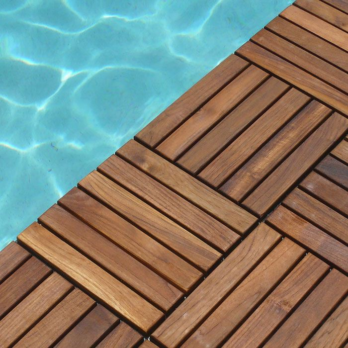 Le Click Classic Dark Teak Wood Interlocking Deck Tiles