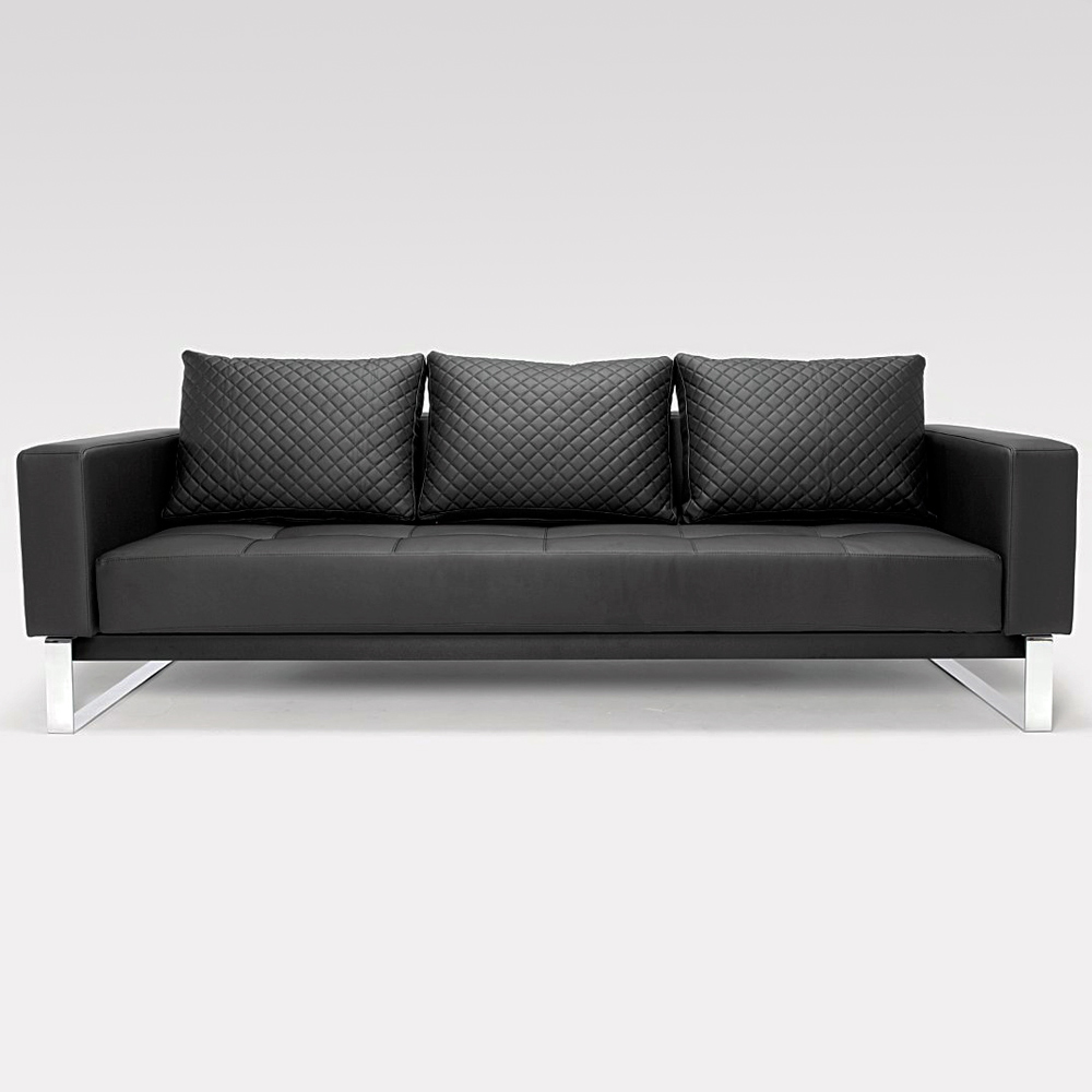 Cassius Deluxe Sofa Bed - Full Size, Sled Legs, Black Leather Look
