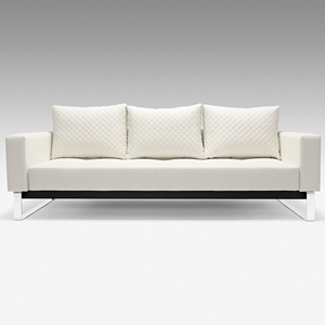 Cassius Deluxe Sofa Bed - Full Size, Sled Legs, White Leather Look