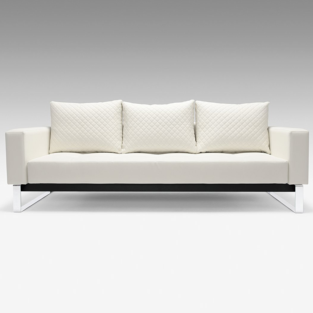 Cassius Deluxe Sofa Bed Full Size Sled Legs White Leather Look