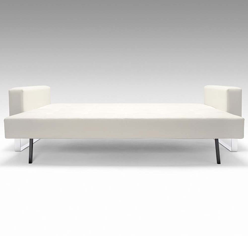 cassius deluxe sofa bed full size sled legs white leather look inn