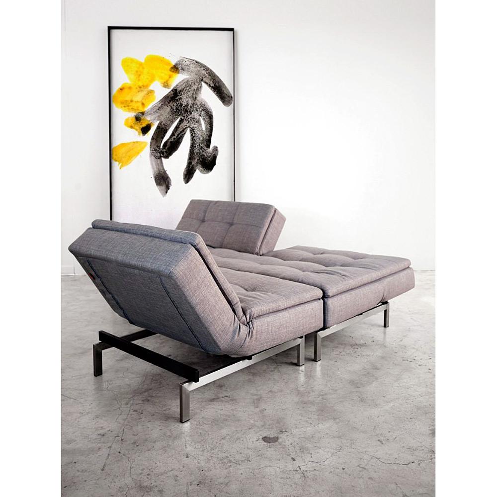 ... Dublexo Deluxe Tufted Sofa Bed   Steel Legs, Begum Dark Gray   INN 94  ...