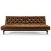 Oldschool Chesterfield Sofa Bed - Black & Brown Leather Look