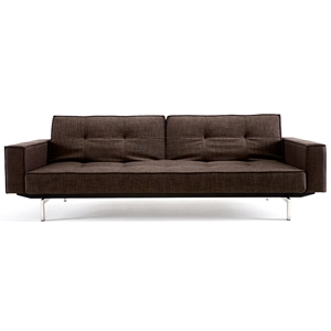 Splitback Deluxe Track Arm Sofa - Convertible, Steel Legs, Brown