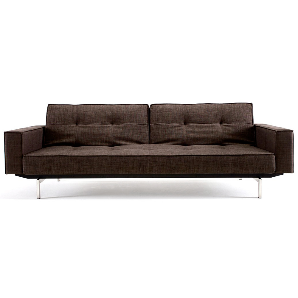 Splitback deluxe track arm sofa convertible steel legs for Sofa with only one arm