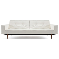Splitback Deluxe Track Arm Sofa - Convertible, Wood Legs, White