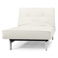 Splitback Deluxe Convertible Chair - Steel Legs, White Leather Look
