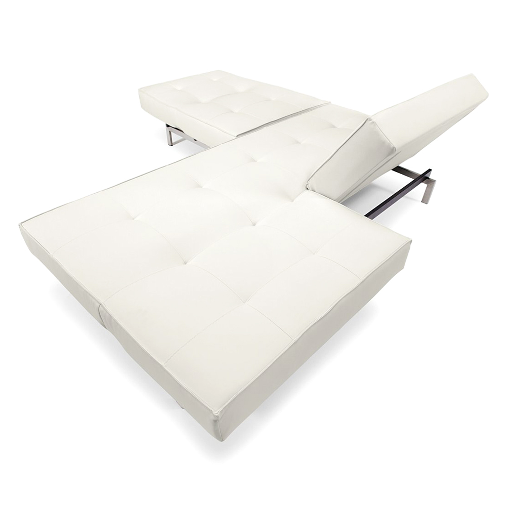 Splitback Deluxe Sofa Bed - Stainless Steel, White Leather Look - INN-94-741010C588-8-2