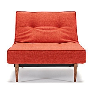 Splitback Deluxe Convertible Chair - Wood Legs, Burned Orange