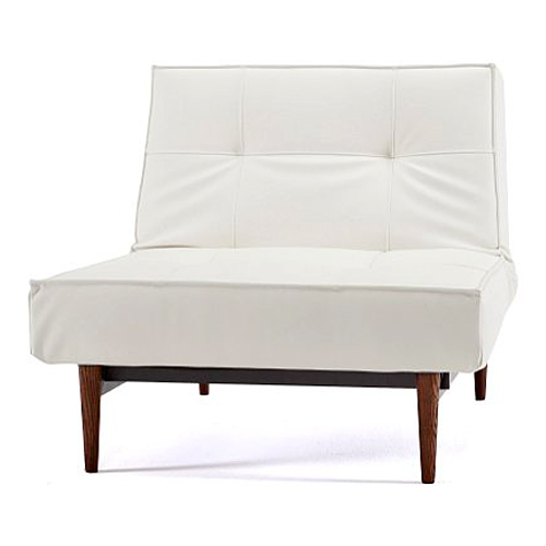 Splitback Deluxe Convertible Chair - Walnut Wood Legs, White - INN-94-741011C588-3-2