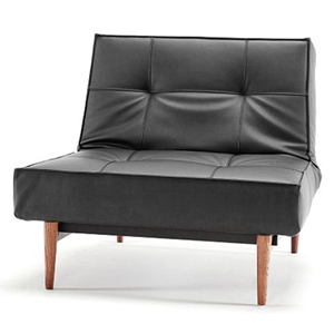 Splitback Deluxe Convertible Chair - Wood Legs, Black Leather Look