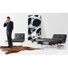 Splitback Deluxe Sofa Bed - Stainless Steel, Black Leather Look - INN-94-741010C582-8-2