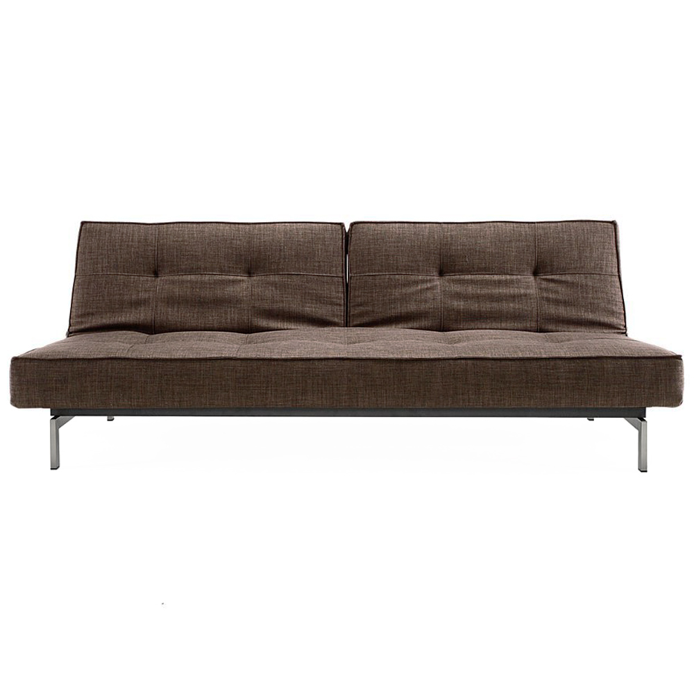 Splitback Deluxe Sofa Bed - Stainless Steel, Begum Dark Brown