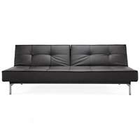 Splitback Deluxe Sofa Bed - Stainless Steel, Black Leather Look