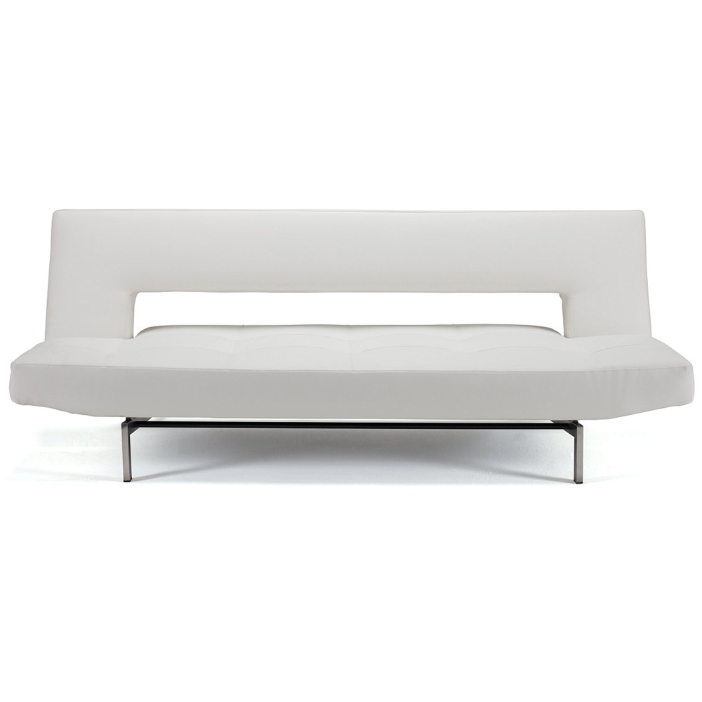 Wing Deluxe Sofa - Stainless Steel Legs, White Leather Look