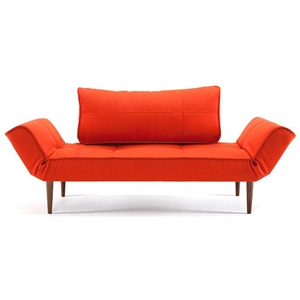 Zeal Deluxe Convertible Sofa - Walnut Wood Legs, Basic Orange