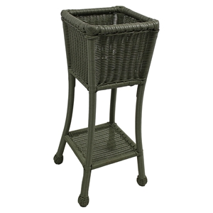 Chelsea Wicker Resin / Steel 2-Tier Patio Plant Stand - Antique Moss