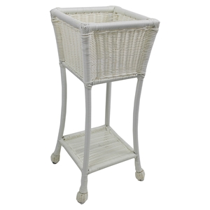Chelsea Wicker Resin / Steel 2-Tier Patio Plant Stand - White