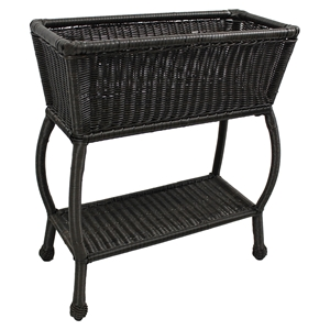 Chelsea 2-Tier Patio Plant Stand - Antique Black, Wicker Resin / Steel