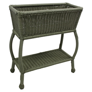 Chelsea 2-Tier Patio Plant Stand - Antique Moss, Wicker Resin / Steel