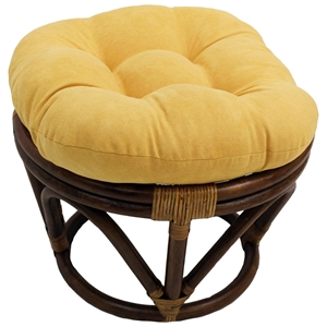 Bali Rattan Papasan Ottoman - Tufted, Microsuede Cushion