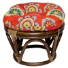 Bali Rattan Papasan Ottoman - Tufted, Outdoor Cushion, Print - INTC-3301-REO