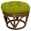 Bali Rattan Papasan Ottoman - Tufted, Outdoor Cushion, Solid - INTC-3301-REO-S