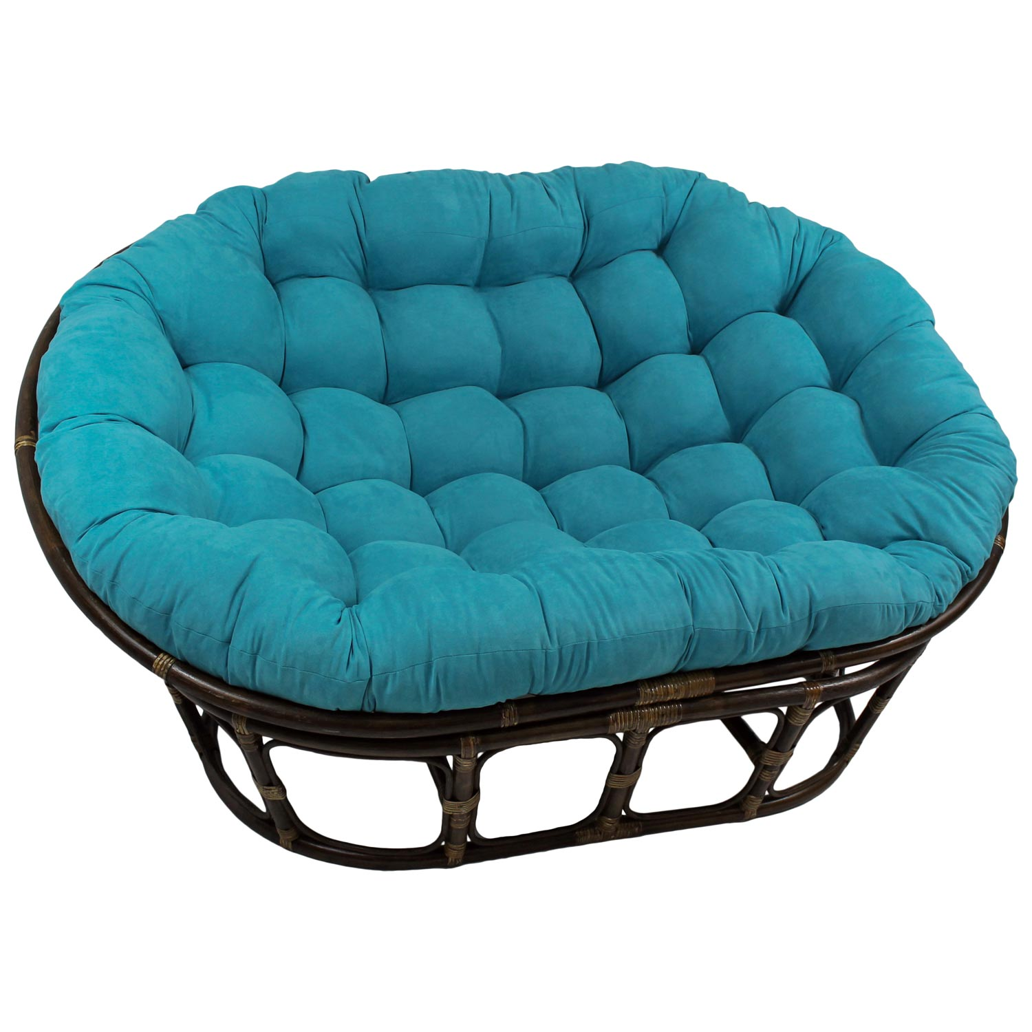 Bali Rattan Double Papasan Chair - Tufted, Microsuede Cushion - INTC-3304-MS