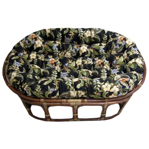 Bali rattan double papasan chair tufted outdoor cushion for Double papasan chair cushion