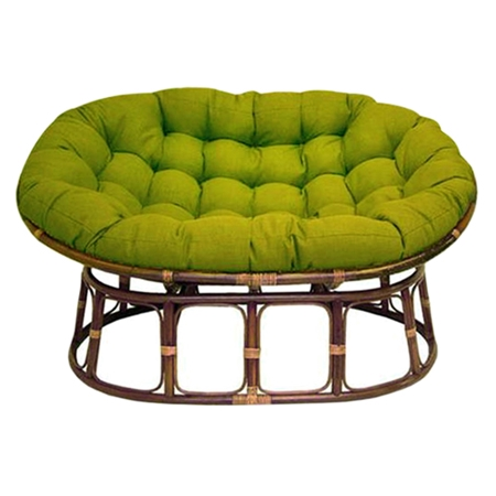 Bali Rattan Double Papasan Chair - Tufted, Outdoor Cushion, Solid ...