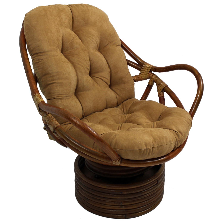 Bali Rattan Swivel Rocker Chair Tufted Microsuede