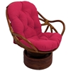 Bali Rattan Swivel Rocker Chair - Tufted, Outdoor Cushion, Solid - INTC-3310-REO-S