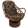Bali Rattan Swivel Rocker Chair - Tufted, Tapestry Cushion - INTC-3310-T