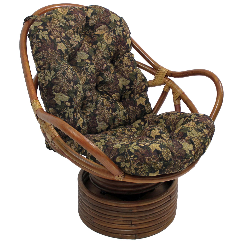 Bali Rattan Swivel Rocker Chair Tufted Tapestry Cushion