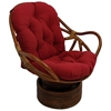 Bali Rattan Swivel Rocker Chair - Tufted, Twill Cushion - INTC-3310-TW