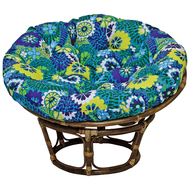 Bali Rattan Papasan Chair   Tufted, Outdoor Cushion, Print   INTC 3312  ...