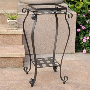 Mandalay Iron Square Plant Stand - Antique Black
