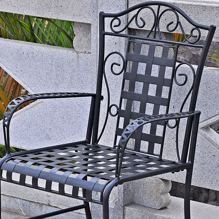 Mandalay Patio Armchair - Wrought Iron, Scrolls (Set of 2) - INTC-3450-2CH