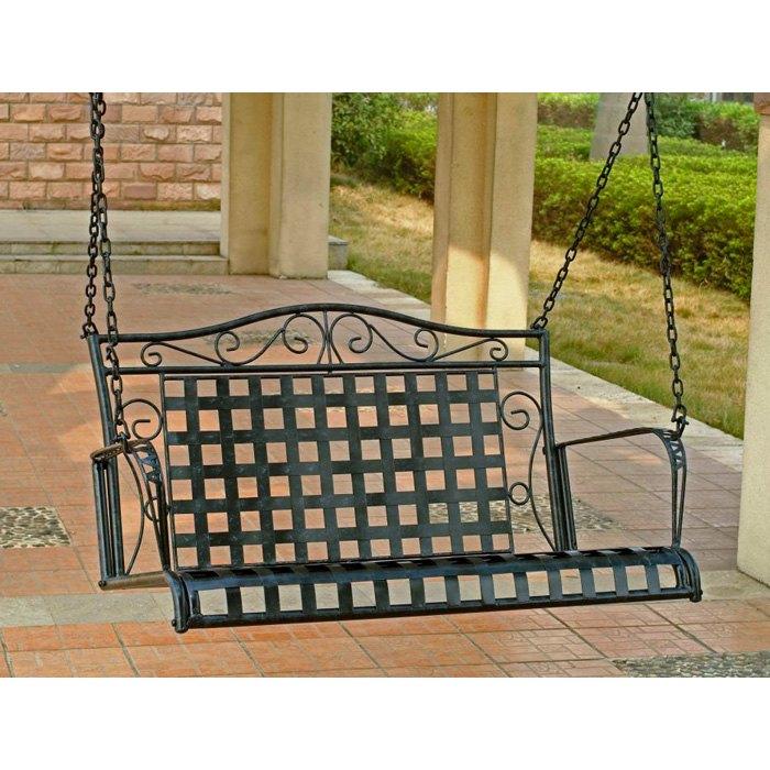Mandalay Wrought Iron Patio Swing In Antique Black   INTC 3451 ...