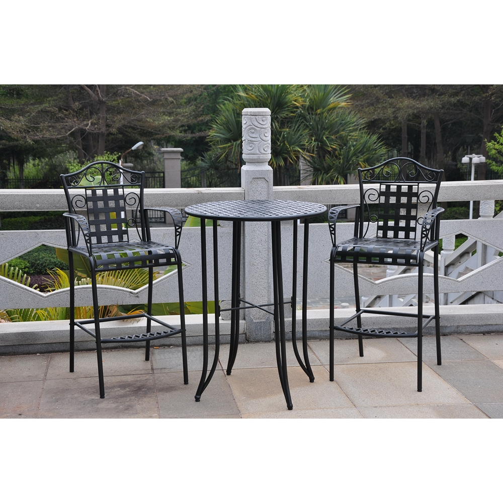 Mandalay Iron Bar Height Patio Table Antique Black Dcg