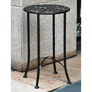 Mandalay 15 Inch Round Patio Table - Wrought Iron, Antique Black