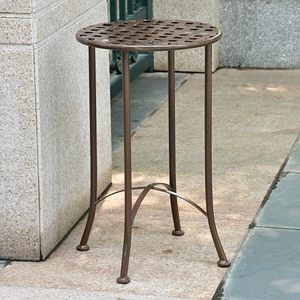 Mandalay 15 Inch Round Patio Table - Wrought Iron, Rustic Brown