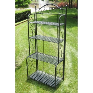 Mandalay Folding Bakers Rack in Antique Black