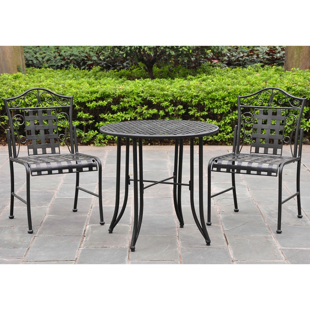 Mandalay 3 piece iron patio bistro set in antique black for Outdoor furniture 3 piece