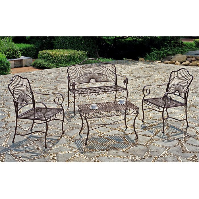 Sun Ray Outdoor Living Room Set in Bronze - INTC-3481